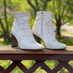 White Topshop Leather Booties